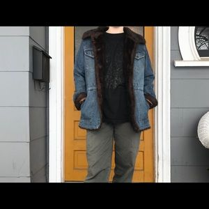 Vintage Denim faux fur jacket